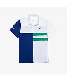 Men's SPORT Short Sleeve Asymmetrical Colorblocked Ultra Dry Polo Shirt