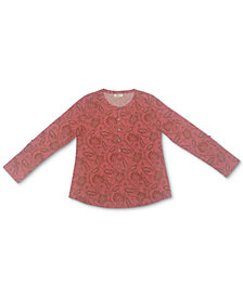 Style & Co Printed Henley Shirt, Created for Macy's