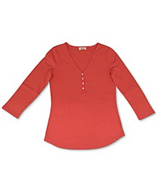 Waffle-Knit Henley Top, Created for Macy's