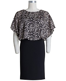Plus Size Animal-Print-Bodice Sheath Dress