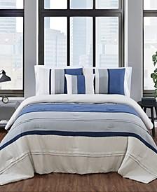 Newport Stripe 4 Piece Comforter Set, King