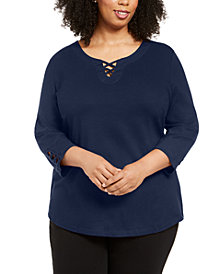 Karen Scott Plus Size Cotton Crisscross Top, Created for Macy's