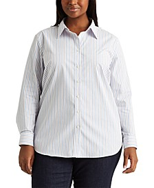 Plus Size Classic Striped Shirt