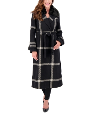 1940s Style Coats and Jackets for Sale Vince Camuto Petite Faux-Fur-Collar Plaid Maxi Coat Created for Macys $207.00 AT vintagedancer.com