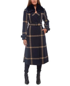 1940s Style Coats and Jackets for Sale Vince Camuto Faux-Fur-Collar Plaid Maxi Coat $276.00 AT vintagedancer.com