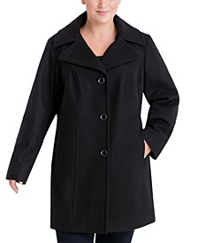 Plus Size Single-Breasted Peacoat
