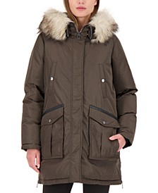 Faux-Fur-Trim Hooded Water-Resistant Parka Coat