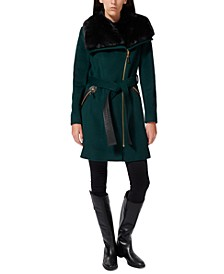 Asymmetrical Faux-Fur-Collar Coat, Created for Macy's