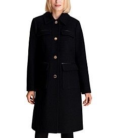Faux-Leather-Trim Walker Coat