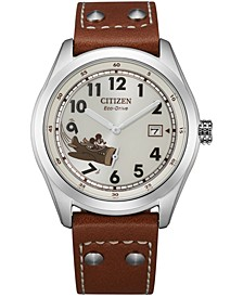 Eco-Drive Men's Mickey Aviator Brown Leather Strap Watch 40mm
