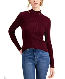 Juniors' Ribbed Mockneck Sweater