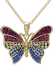 "Swarovski Crystal Butterfly 18"" Pendant Necklace in 14k Gold-Plated Sterling Silver, Created for Macy's"