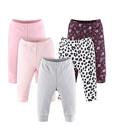 Baby Boys Dots and Floral Print Pants Set, Pack of 5