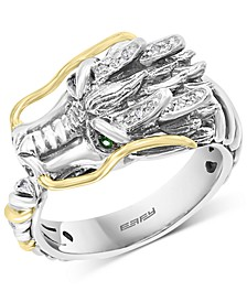 EFFY® Diamond (1/20 ct. t.w.) & Tsavorite Accent Dragon Ring in Sterling Silver & 18k Gold-Plate