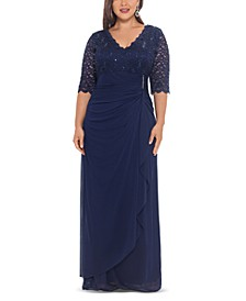 Plus Size V-Neck Gown