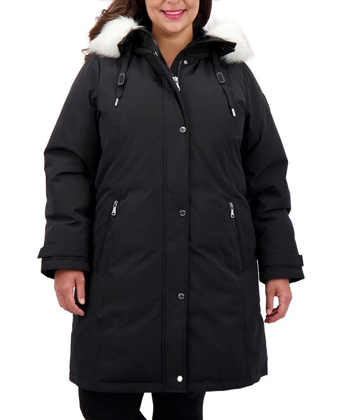 Vince Camuto - Plus Size Faux-Fur-Trim Hooded Puffer Coat