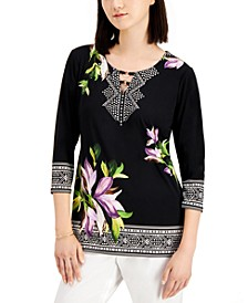 Hardware Embellished Printed Top, Created for Macy's
