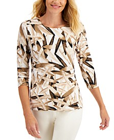 Tropical Palm-Print Jacquard Top, Created for Macy's