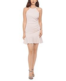 Juniors' Glitter-Knit Flounce Dress