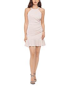 Blondie Nites Juniors' Glitter-Knit Flounce Dress