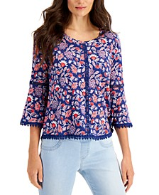 Petite Cotton Flower-Print Top, Created for Macy's