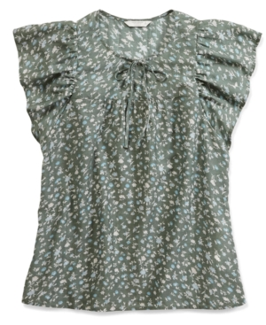 Lucky Brand Flutter Sleeve Peasant Blouse In Green Multi