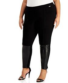Plus Size Faux-Leather-Panel Leggings