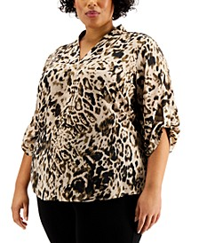 Plus Size Pleated-Trim Roll-Sleeve Top