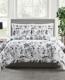 Black and White 3-Pc. Floral-Print Full/Queen Comforter Set, a Macy's Exclusive Style