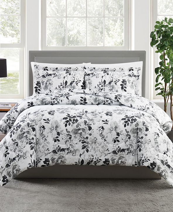 Pem America Black and White 2-Pc. Floral-Print Twin Comforter Set, a Macy's Exclusive Style