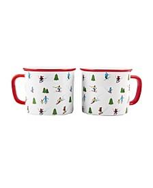 Ceramic Skiers Mugs - set of 2