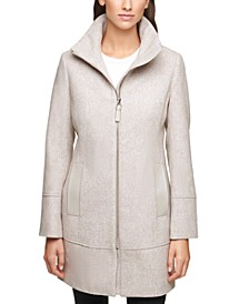 Faux-Leather-Trim Coat, Created for Macy's