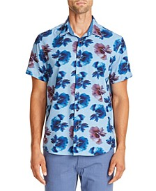 Tallia Men's Slim-Fit Performance Stretch Blue/Brown Peony Short Sleeve Shirt and a Free Face Mask With Purchase