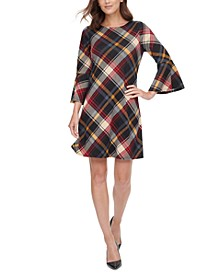 Plaid Bell-Sleeve Dress