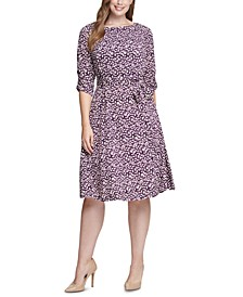 Plus Size Printed Ruched-Sleeve Dress