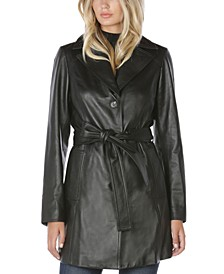 Nicole Belted Leather Trench Coat