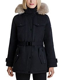 Belted Faux-Fur-Trim Hooded Down Puffer Coat