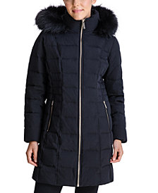 Michael Michael Kors Faux-Fur-Trim Hooded Down Coat, Created for Macy's