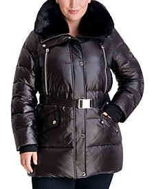 Plus Size Belted Faux-Fur Trim Hooded Down Puffer Coat