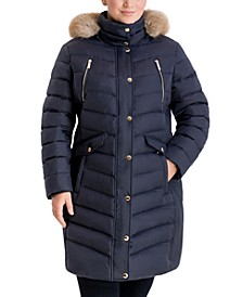 Plus Size Faux-Fur-Trim Hooded Puffer Coat