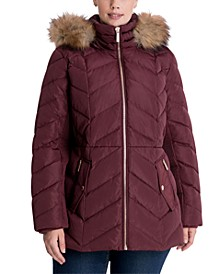 Plus Size Faux-Fur Trim Hooded Down Puffer Coat, Created for Macy's