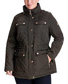 Michael Michael Kors Plus Size Hooded Quilted Coat