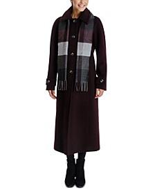 Plaid-Scarf Maxi Coat