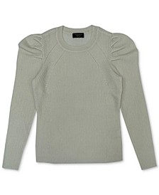 Puff-Sleeve Ribbed Cashmere Sweater, Created for Macy's