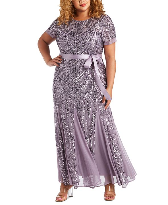 R & M Richards Plus Size Sequined Godet Gown
