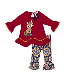 Baby Girls Printed Legging Set with Fox Applique