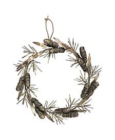 "13.5"" Metal Pinecone Wreath"
