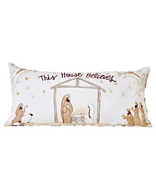 """Reversible Embroidered """"This House Believes"""" Cotton Lumbar Pillow with Burlap Back, 32"""" x 15.5"""""""