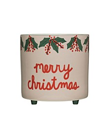 """""""Merry Christmas"""" Stoneware Footed Planter with Holly Images"""