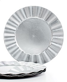 Jay Import Chargers, Ruffled Set of 4 Silver Charger  Plates